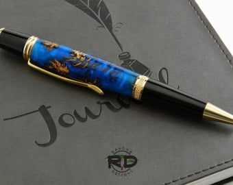 Mini Pinecone Alumilite Pen, Handmade Pen, Twist Pen, Cobalt Blue Pen