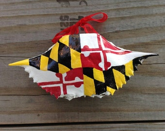 Hand Painted Maryland Flag Crab Shell