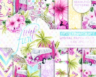 Tropical Digital Papers Quot Tropical Summer Quot With Flamingo
