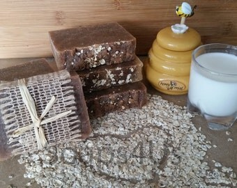 Oatmeal, Milk and Honey Handmade Natural soap. Hot Process Soap.