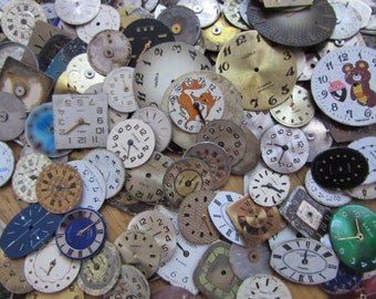 300 pcs little  Watch Face Dials, From Old Watch Parts, & Dials For Steampunk Altered Art Gear, Repair, or ScrapBooking