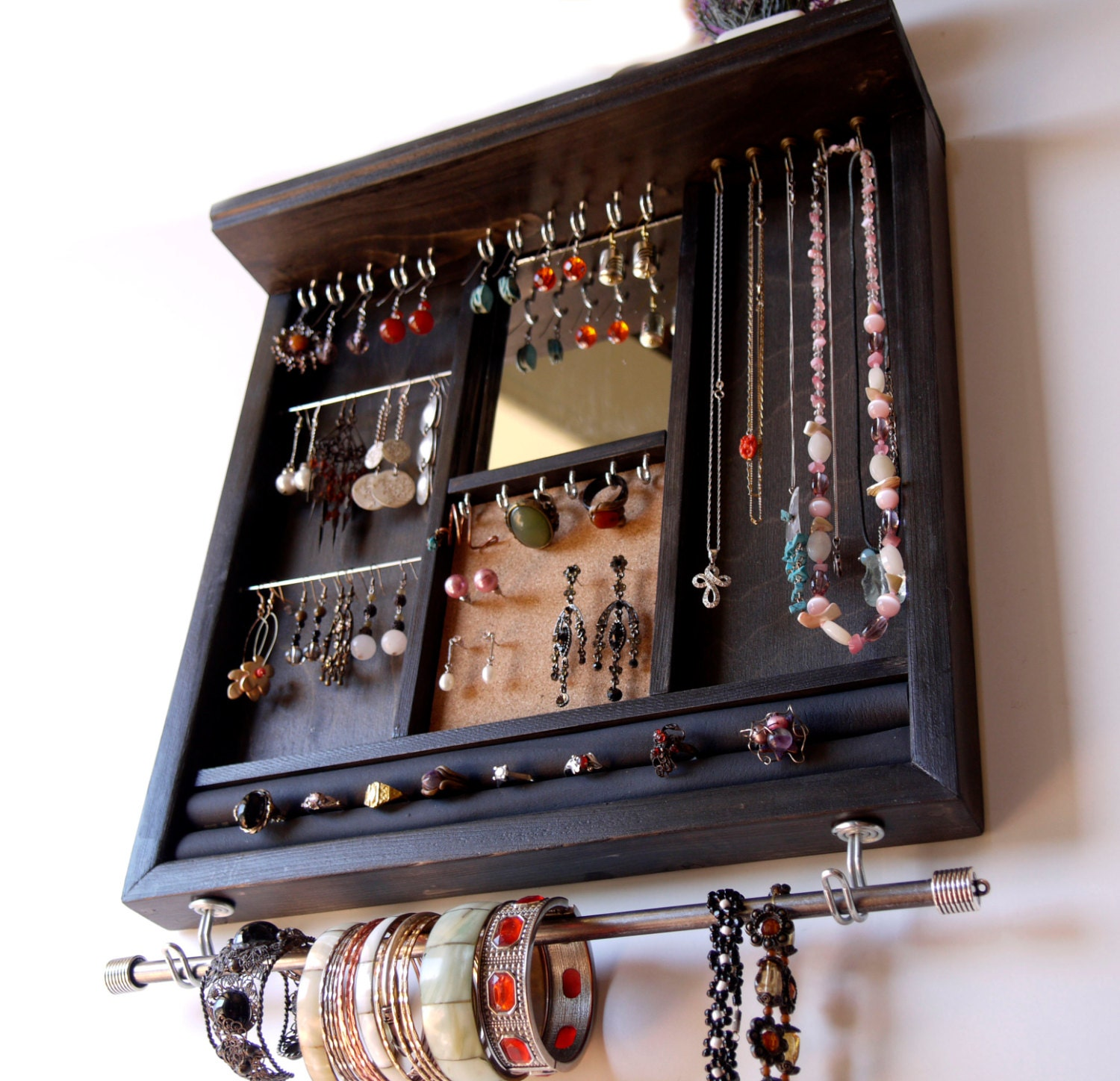 Decorative Wall Mirror Jewelry Organizer : Jewelry display with mirror earrings holder necklace