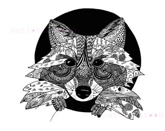 Racoon ink drawing/ Giclee fine art print/ A3 black and white print