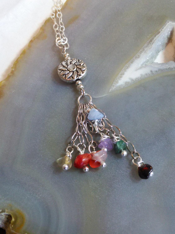 sterling silver chakra necklace chakra pendant by