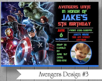 Photo Birthday Party Invitations Inspired by Avengers and Ironman - Custom Printed Invitations