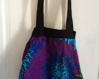 Recycled Retro Fabric Tote Bag - Purple & Blue
