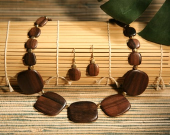 Tiger Ebony Wood and Brass Bead Necklace
