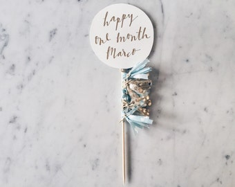 Cake Topper / Modern Calligraphy / Custom Hand Lettered/ Cream Star Silver / Made-To-Order/ Hand Made Mini Tassels / Happy New Year