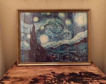 "Vintage ""Starry Night"" by Vincent Van Gogh framed Print"