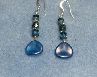 Blue rose petal dangle earrings adorned with blue Czech glass beads