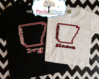 Personalized Arkansas State Outline Shirt - Youth