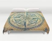 Vintage Oriental Compass  Duvet Cover , queen and king duvet cover Boho bedding,decorative voyager duvet cover,Indian spirit, bohemian decor