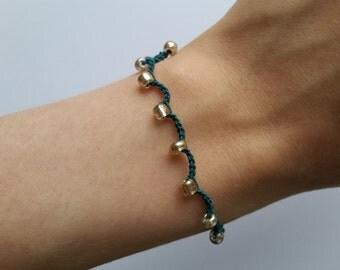 Green and Gold Crochet Bracelet