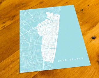 Long Branch, NJ - Map Art Print  - Your Choice of Size & Color!
