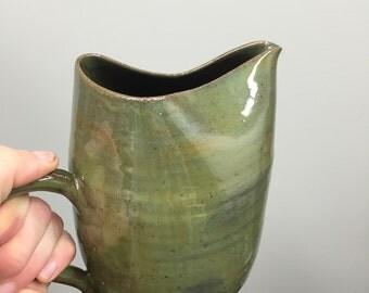 Handmade ceramic pitcher, Funky pottery pitcher