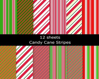 12 sheets Candy Cane Stripes - 12 inch square 300dpi