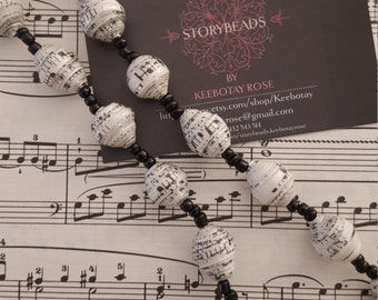 Classical Sheet Music Paper Bead Necklace