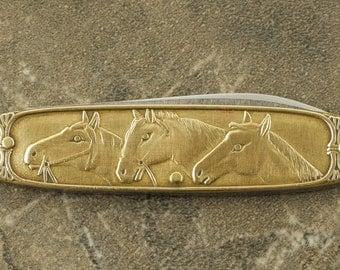 Vintage Horses and Dogs Pocket Knife, Jack Knife.
