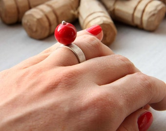 Red stone Statement Ring Red Jade Ring Adjustable Matted Ring 925 Sterling Silver Birthday Gifts For Girl