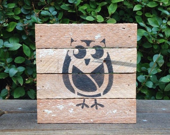 Wood owl sign, rustic wood sign, reclaimed wood sign, repurposed, wall decor