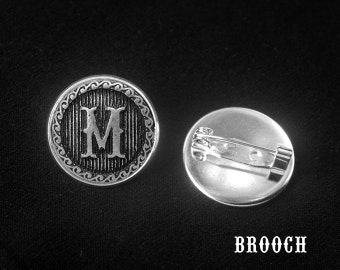 Letter Brooch Pin -Initial Brooch -Personalized Brooch Pin -Button Pin -Your Choice of A to Z