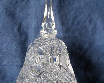 Hand Engraved  Lead Crystal Bell.   Circa 70's.  Beautiful birds