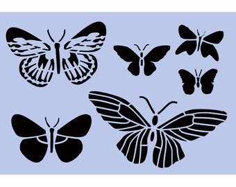 Butterflies Stencil - Butterfly A4 (8' x 11.5') Stencil for Furniture Painting Projects, Glass, Walls, Signs 043
