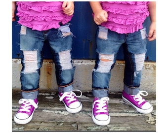 Rosie Jeans -  baby , toddler , kids - Girl's hand - distressed Skinnies (Sizes 6m-12y) custom jeans , girls jeans , ripped denim