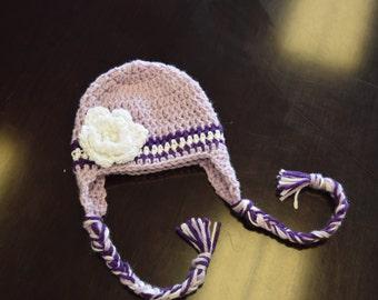 Baby Girls' Hats, Photo Props, Winter Crochet Hat with Flower/NewBorn-24Months
