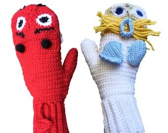 Funny Hand Crocheted Angel vs. Devil Mittens