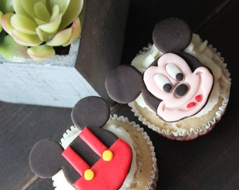 MICKEY MOUSE FONDANT Cupcake Toppers 12pcs.