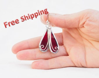 Colorful glass and silver earrings, FREE SHIPPING, drop earrings, dangle earrings, stained glass