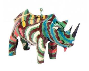 Soroba Hand Painted Rhino Sculpture