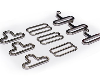 "Lot of 10/25/50/100/250 3/4"" SILVER metal BOW TIE hardware sets (3 pcs per set--> eye + hook + slide) Finest hardware available anywhere!"