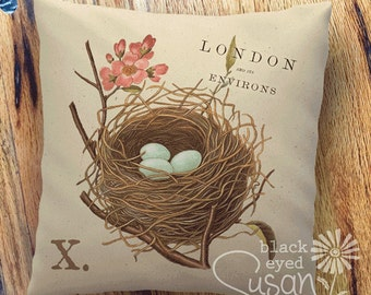 """Birds Nest Botanical Pillow Cover 