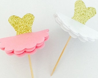 12 Glitter Gold & White Tutu Cupcake Donut Toppers for Birthdays, Baby Showers, etc