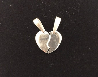 Small heart SECTIONED steel with possibility of custom engraving of the initial