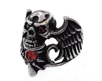 Handmade winged skull ring in stainless steel