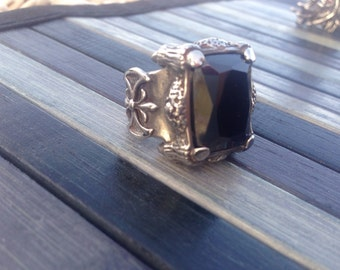 Steel rectangular Onyx ring