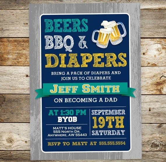 diaper party invitation beers bbq diapers invitation daddy, Party invitations