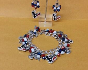 Houston Texans Chunky Charm Bracelet and Chandelier Earrings