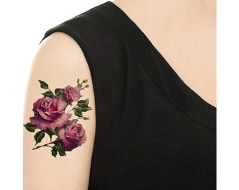 Temporary Tattoo -  Purple / Red Rose /Hydrangea Floral - Various Sizes