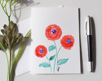 Watercolor Handpainted Cards, Handmade Floral Cards, Number Code 29