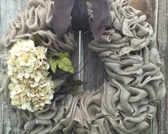 Burlap Wreath with Beautiful Cream Hydrangeas