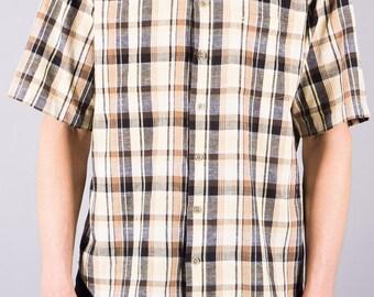 Vintage shirt - short sleeve shirt - Plaid - beige - Brown - 90 s shirt - mens shirt - summer - causal - hipster - shirt leisure shirt-Olymp