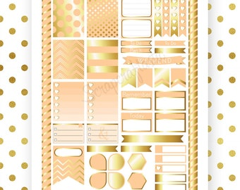 Peach & Gold Printable Planner Stickers for Erin Condren Life Planner