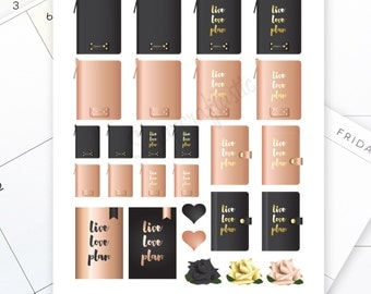 Live Love Plan Rose Gold and Black Planner Printable Stickers | Clip Art | Graphics