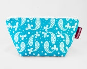 Bubble Fish Trapeze Pouch, White Blue toiletry bag, graduation gift for her, stylish makeup case, zipper pouch, purse organizer cosmetic bag