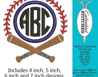 Baseball Monogram Frame Machine Embroidery Design 4 Sizes Included, 4, 5, 6 inch and 7 inch Instant Digital Download