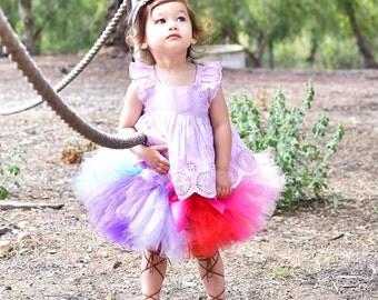 EXTRA FULL Girls Tutu Skirt Rainbow Tutu Baby Tutu Rainbow Girls 1st Birthday Tutu Handmade  Extra Full Tutu Skirt Handmade